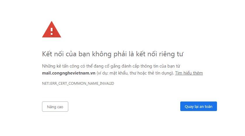 Lỗi khi truy cập vào địa chỉ webmail
